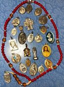Vintage Untested Signed Religious Catholic Medals Jesus Mary Rosary Craft Lot 24