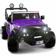Kids Ride On Wild Jeep Battery Powered Car 12 Volt Children Electric Purple Toy