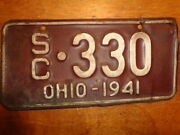 1941 Ohio Motorcycle Sidecar License Plate
