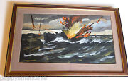 Fred Conway 1900-1972 Submarine Attack 1940and039s Wwii Original Signed St Louis