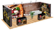 Trade Show Fabric Tension Quick Pop-up Exhibition Booth 20 Ft Back Wall V-10