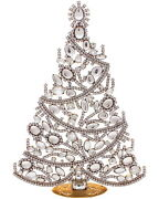 Giant Frosty Czech Christmas Rhinestones Tree Decoration For Your Table - Window
