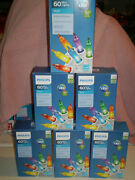 Nib 6 Boxes Phillips 60ct 360 Led Hard To Find White Wire Christmas Lights