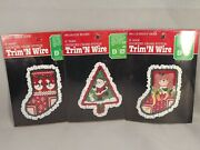 Trim N Wire Christmas Ornament Kits 3 Counted Cross Stitch Santa Bear Geese