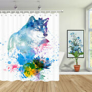 Animal Wolf Shower Curtain Watercolor Wildlife And Lotus Bathroom Accessories