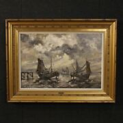 Painting Marina Paesaggio Oil On Canvas Boats Signed Antique Style Frame