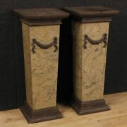 Pair Of Columns Italian Coffee Tables Lacquered Painted Chalk Resin
