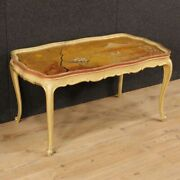 Small Table Venetian Low Living Room Lacquered Golden Hand Painted Style 900