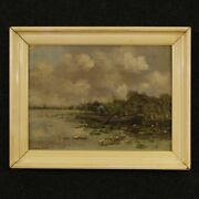 Painting Work Of Art Oil On Canvas Landscape Antique Style Signed Dutch Frame