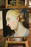 Painting Italian Oil On Table Profile Dama Antique Style 900 Painting Portrait