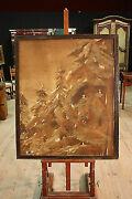 Painting Spanish Oil On Canvas Paesaggio Trees Pines Antique Style 900