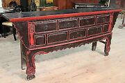 Antique Console Table Oriental Wood Painted Cabinet Furniture 800 Xix Antiquity
