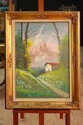 Painting Paesaggio Painting Signed On Canvas Mountain Frame Antique Style 900