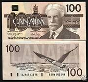 Canada 100 Dollars P99 D 1988 Geese Bird Unc Knight Dodge Sign Money Bank Note