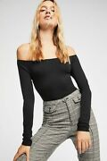 New Free People Womens Seamless Long Sleeve Off -the-shoulder Solid Top 38