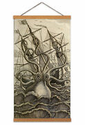 Antique Illustration Giant Octopus Ship Canvas Wall Art Print Poster With Hanger