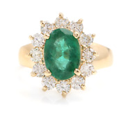4.40ct Natural Emerald And Diamond 14k Solid Yellow Gold Ring