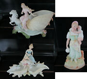Heubach 1880s German Bisque Shell Chariots Nymphs Sea Horses Figurines Pick One