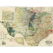 Gallup 1920 Map Texas Geology Oil Refineries Extra Large Art Poster