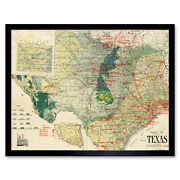Gallup 1920 Map Texas Geology Oil Refineries Framed Wall Art Poster