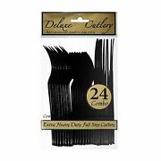 1 Party Essentials Combo Plastic Cutlery Hd -black 24 Ct.