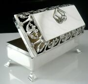 Immaculate Antique Sterling Silver Trinket Box With Pierced Work Lid London 1908