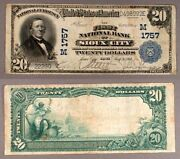 Sioux Ia 20 1902 Pb National Bank Note Ch 1757 First Nb Vf