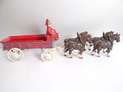Horse And Cart Wagon Pull Toy Vintage Used Reproduction Metal Cast Iron Firemen