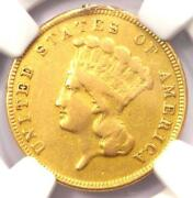 1884 Three Dollar Indian Gold Coin 3 - Ngc Vf Details - Just 1000 Coins Minted