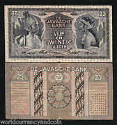 Netherlands Indies 25 Gulden 1934 P80 A Indonesia Money Bill Colony Bank Note