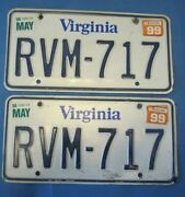 Matched Pair 1999 Virginia License Plates