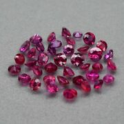 39pcs Lot 7.20ct T.w Round Brilliant Natural Top Red Ruby Heated Glass Filled