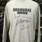 Hanes Shanghai Noon Sweat Men Pulover Gray Large L Jacky Chan Signed Collectible