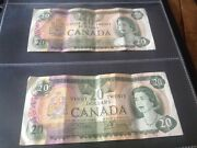 2 X 20 Canada Banknotes Dated 1979
