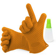 Bbq Gloves - Oven Mitts Heat Resistant, Grill Gloves - 1 Size Fits Most