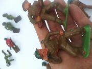 Vintage Lot Barclay Lead Toy Soldiers Gas Mask Phone Gernade 14pcs Good Paint