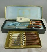 Vintage Sheffield Stainless E Parker And Sons Carving Set And 6 Steak Knives 3709