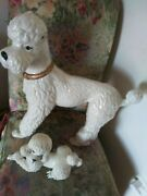 Vintage Ceramic Statue Figurine White Poodle Dogs With Collar 2