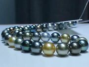 Huge 1812-15mm South Sea Genuine Round White Black Gray Multic Pearl Necklace