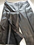 Valentino Andnbsp New Without Tag Lamb Skin Wide-leg Black Ladies Pants Size 12