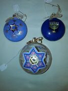2 Double Sided Hand-painted Hanukkah Ornaments On Clear Glass 1-happy Chanukah