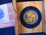 Israel 1992 Discovery Of America 500th Anniversary 15g Gold Medal +wood Box+coa