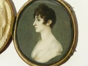 Antique Portrait Miniature Bust Of Lady In Side View, Within A Red Leather Case