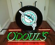 O'doul's Beer Florida Marlins Baseball Authentic Neon Sign Made In Usa
