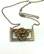 Antique Victorian Chinese Style Enamel Tiger Cat Head Necklace 14k Rose Gold