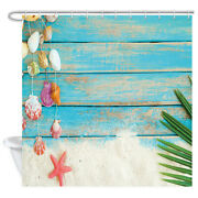 Nautical Wooden Panels Shower Curtain Set Bathroom Accessories With Hooks, Blue