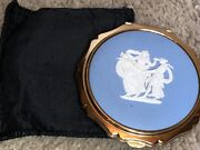 Antique Vintage Stratton Compact With Wedgewood Top - All Original - Rare
