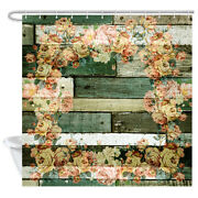 Rustic Wood Panels Shower Curtain, Vintage Flowers Decor Wooden Board Curtains