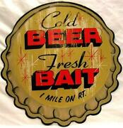 Beer Bait Bottle Cap Embossed Plasma Cut Metal Sign