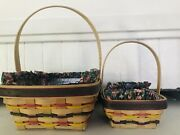 Lot Of 2 Longaberger 1998 Handmade Easter Basket Combos W Plastic And Cloth Liners